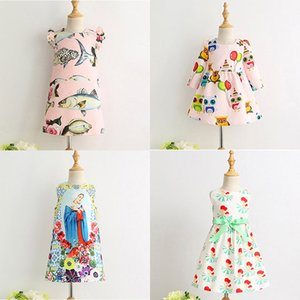 Wholesale Girls Printed Dresses Princess Dresses for Girls Fish Fruit House Kids Clothing for Stage Performance cm T