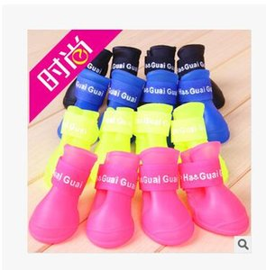2017 new style Lefdy News DOG BOOTS Waterproof Protective Rubber Pet Rain Shoes Booties of Candy Colors