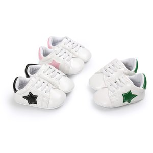 Wholesale Baby sneaker first walkers cute toddlers Five Pointed Star patched soft sole slip on shoes boys girls prewalkers for T
