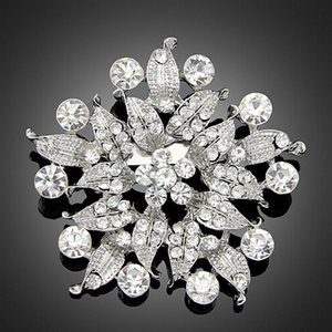 Wholesale hijab bouquets resale online - Vintage Silver Color Alloy Stunning Clear Crystal Large Flower Women Bridal Bouquet Brooch Hot Selling Fashionable Lady Hijab Wear Pins