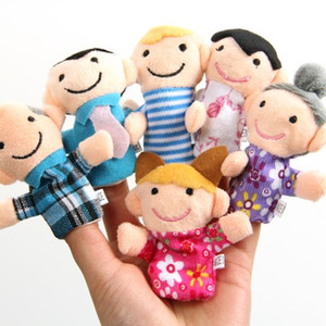 Wholesale family puppets resale online - DHL Fedex Ship Family Finger puppet Set Cloth toy helper doll Soft Plush toys dolls