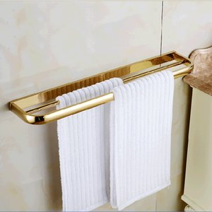 Wholesale towel hanger bathroom for sale - Group buy And Retail Modern Square Golden Brass Wall Mounted Bathroom Towel Rack Holder Dual Bars Towel Holder Hanger