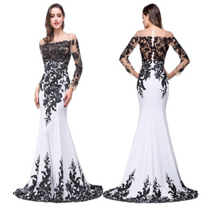 Wholesale 100 Real Photo New Black White Formal Evening Dresses Sheer Jewel Neck Long Sleeves Lace Appliqued Prom Party Gowns BZP0803