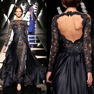 2015 New Design Lace Bateau Neck Long Lace Sleeves Pageant Dresses Front Lace Chiffon Back Prom Evening Gowns with Detachable Sweep Train on Sale