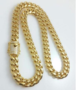 Wholesale china diamond chain men for sale - Group buy Men K Yellow Gold Fill14mm Lab Diamond Miami Cuban Chain Necklace