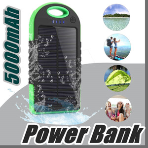 Wholesale 5000mAh Solar power Charger and Battery Solar Panel waterproof shockproof Dustproof portable power bank for Mobile Cellphone iphone