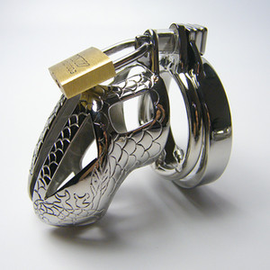 Dragon lines design Stainless Steel chastity device cockcage penis cock cage with Snap Ring clamp & Anti-escape-ring & Padlock 947D