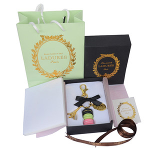 Gold Plated Keyring France LADUREE Macaron Effiel Tower black Keychain Fashion Keyring bag charm accessories w gift box and handbag