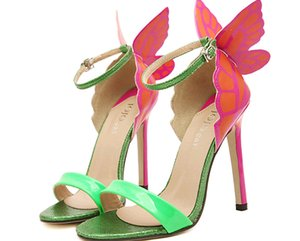 Wholesale 2015 Hot sell women s shoes JC vampire diaries heroine green colorful butterfly high heeled sandals wedding shoes