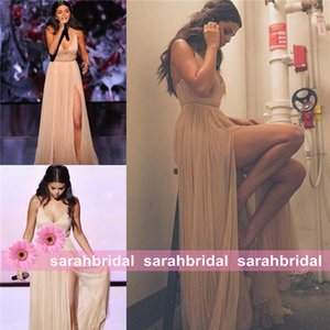 Wholesale Selena Gomez Champagne Slit Celebrity Red Carpet Dresses For 2019 Special Occasion Formal Evening Guest Prom Party Gowns Cheap Sale Vestidos