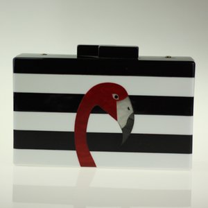 Wholesale New Flamingo Evening Clutch Bag Black White Striped Acrylic Clutch Women Golden Chain Handbag Famous Brand Mini Box Clutch