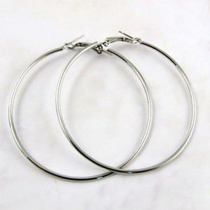 Wholesale Titanium Steel Big Circle Huggie Hoop Earrings Trendy Silver Exaggerated Big Earrings For Women Mixed mm mm Size Free Shopping