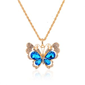 Wholesale Retro Luxury Jewelry Colorful Butterfly Pendant Vintage Sweater Chain Necklace Vintage Blue Rose Peacock Necklaces With Crystal Diamond