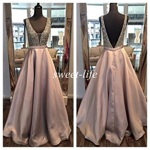Wholesale Ream Images Long Evening Dresses Backless Ball Gown Deep V Neck Beading Satin Sleeveless 2016 Occasion Dress Cheap Pageant Party Prom Gowns