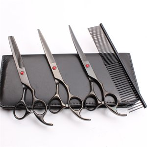 Wholesale 4Pcs Suit quot JP C Customized Logo Professional Pets Grooming Hair Scissors Comb Cutting Shears Thinning Scissor UP Curved Shears C3003