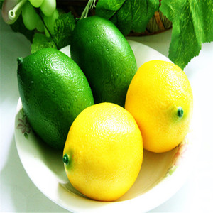 Wholesale Christmas Hot Sale Lifelike Simulation Large Lemons Decorative Plastic Solid Artificial Fruit Yellow Green Cabinet Home Decor Party