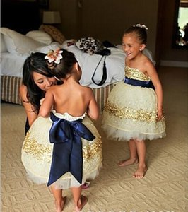 Cute Gold Flower Girl Dresses For Wedding Sequins Applique Ribbon Bow Little Girls Dresses Knee Length Strapless Birthday Dresses For Girls on Sale