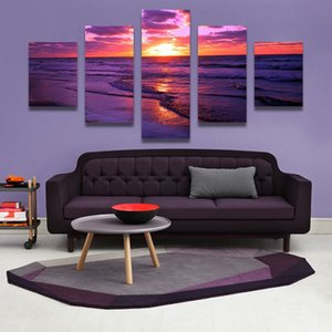 Wholesale 5 Panel red sunset canvas beach painting The Family Decorates Sea wave Print in The Oil Painting On The Canvas Wall Art Picture