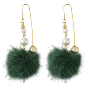 idealway 5 Colors Bohemian Gold Plated Hook Venetian Pearl Woolen ball Drop Dangle Earrings for Women Fashion Wedding Party Accessories