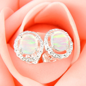 Wholesale silver earrings for sale - Group buy Pairs Mother Gift White Oval Fire Opal Crystal Gemstone Sterling Silver Plated USA Stud Wedding Earrings