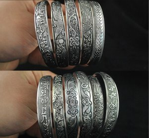 Wholesale HOTSALE Antalya Bangles Antique Silver plate Mixed Pattern Statement Boho Coachella Festival Turkish totem jewelry Tribal Ethnic FREE SHIP