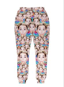 New 2015 Women men funny joggers Print many Miley Cyrus 3d pants long trousers sweatpants Hip Hop women sports running jogging