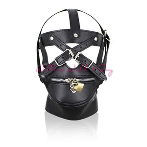 Wholesale hood sex locks for sale - Group buy Adult Game Sex Toys Zipper Mouth Latex Pu Leather Mask Fetish Slave Sex Mask Bondage Hood With Lock Sex Products For Couples