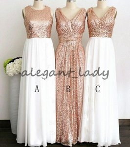 Rose Gold Sequined Three Different Style Long Bridesmaid Dresses For Wedding Elegant Maid Of Honor Gowns Women Formal Party Dresses
