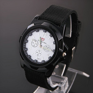 Wholesale 4 color Cool Fashion Gemius Force Army Racing Force Military Sport For Men Officer Fabric Band Knight Watch Gents Master Sports Canvas