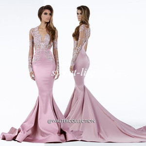 Wholesale 2019 Miss USA Pageant Dresses Mermaid Sheer Deep V Neck Lace Sweep Train Satin Plus Size Long Sleeves Evening Dresses Celebrity Prom Gowns