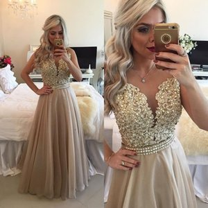 Wholesale Champagne Beaded Lace Party Dresses Sheer Crew A line Pearls Backless Chiffon Prom Gowns Sexy Illusion Formal Evening Dress Custom made