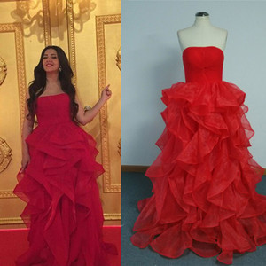 Wholesale 2015 Red Cheap Celebrity Dresses A Line Strapless Tiers Skirt Floor Length Red Carpet Evening dresses Real Photos