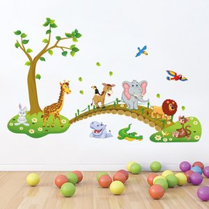 animales de la selva al por mayor-Habitación de los niños Nursery Wall Decor Decal Sticker Cute Big Jungle Animals Bridge Etiqueta de la pared Habitación del bebé Wallpaper Decal Posters