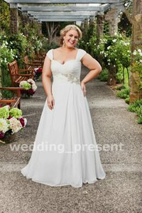 Wholesale Plus Size Wedding Dresses Cap Sleeve A Line Lace Up Chiffon Garden Bridal Gowns Sweep Train Beaded Fat Dresses For Wedding