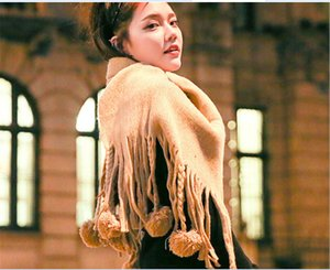 Wholesale Scarf girl winter long style of thick Yang plum ball tassel pure color knitted new han edition fashion student scarf girl