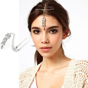 Wholesale Bride Hair Pin Cuff Wrap Silver Crystal Leaf Pendant Forehead Chains Indian Head Jewelry Headband