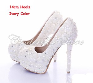 Wholesale New Diamond Wedding Shoes Ivory Color Pearl Bridal Dress Shoes Beautiful Crystal High Heel Party Prom Shoes Platforms
