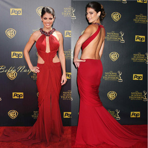 Cheap Red Straps Celebrity Dresses Inspired by Emmy Awards with Beaded Halter Neckline Backless Red Carpet Chiffon Evening Dresses on Sale