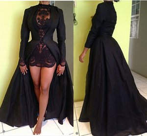 Sexy Sheer Black High Low Evening Dresses Appliques Long Sleeves Winter Satin Prom Dresses FASHION Party Gowns on Sale