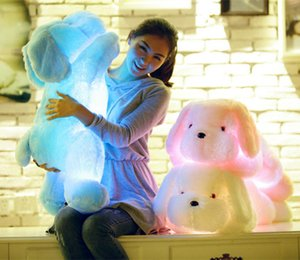 Wholesale cm Auto Color glowing dogs luminous Stuffed lighting LED plush Glow Rotation Illuminated Pillow light Gift Teddy Dog Puppy