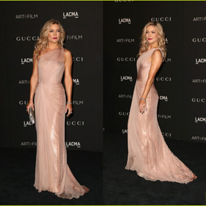 Wholesale Red Carpet Celebrity Dress CMA Kate Hudson One Shoulder Sheath Chiffon And Sequins Floor length Evening Gowns Free Shipping Prom Dress