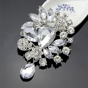 Wholesale High Quality Silver Alloy Big Waterdrop Crystals Weddinig Bridal Bouquet Fashion Brooches Pin Elegant Party Jewelry Accessories