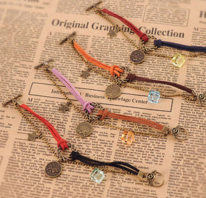 Wholesale antiques jewellery for sale - Group buy Infinity Bracelet Horoscope Vintage Weave Bracelets Antique Charm Braided Wrist bands Jewellery Casual Adjustable Wrap Gifts for Women