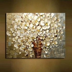 Wholesale 100% handpainted white flowers modern abstract knife oil paintings on canvas wall art pictures for living room home decoration