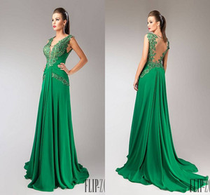 Wholesale Custom Made Prom New Design A line Lace Chiffon Green Ruffles Long Beaded Plus Size Evening Dresses