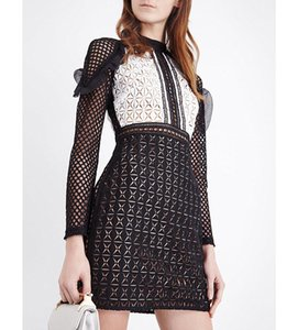 Wholesale 2017 Long Sleeves Crew Neck Lace Lady Dress Fashion Women Brand Design SP Embroidery One Piece Dress MBLO30
