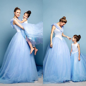 Wholesale special baby clothing for sale - Group buy 2015 Floor Length Mother and Daughter Dress Lovely Spring Tulle Family Clothing for Special Occasion Sweep Train Baby Kids