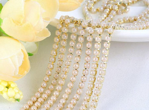 New 5 Meters 4mm White Pearl Seting Gold Claw Ribbon Trim chain Sewing Wedding Dress Diy Craft