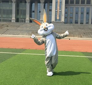 Wholesale Grey Rabbit Mascot Costume Bunny Clothing Cartoon Character Costume Party Fancy Dress New Suit Drop Shipping