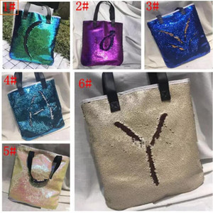 Wholesale Mermaid Sequin totes Bags Mermaid Bright Handbags Glitter Sequins Totes Glow Reversible Shopping Bags Designer Fashion Beach Bags